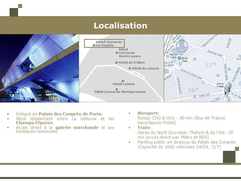 Localisation Aéroport: Intégré au Palais des Congrès de Paris.