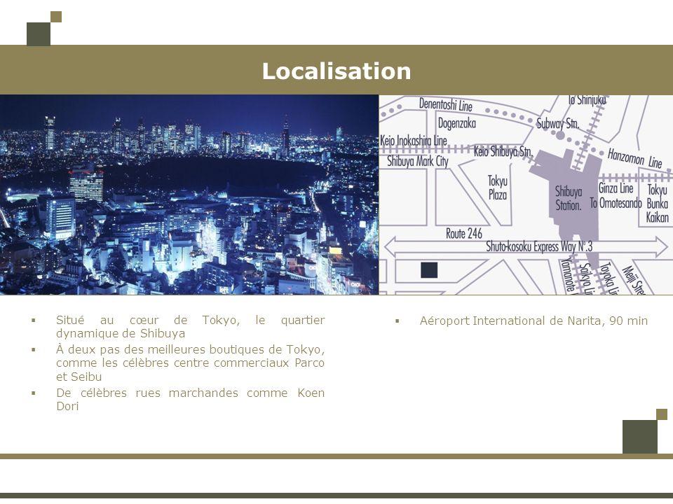 Localisation Situé au cœur de Tokyo, le quartier dynamique de Shibuya