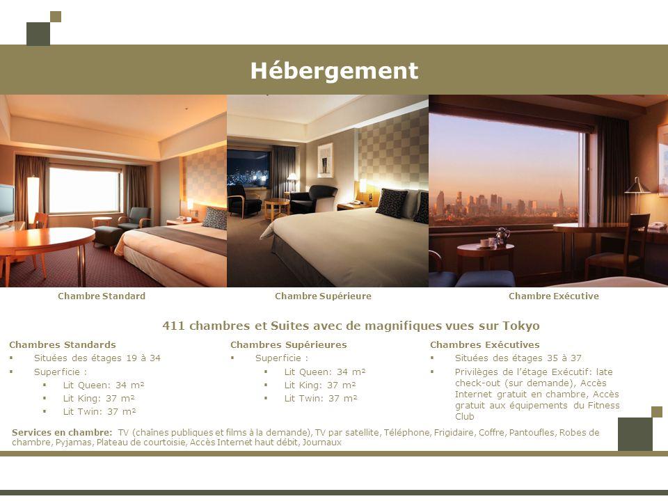 Hébergement 411 chambres et Suites avec de magnifiques vues sur Tokyo