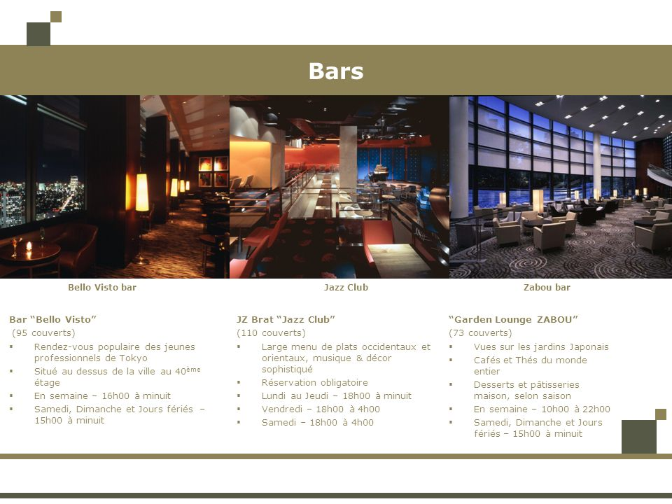BarsBello Visto bar. Zabou bar. Jazz Club. Bar Bello Visto (95 couverts) Rendez-vous populaire des jeunes professionnels de Tokyo.