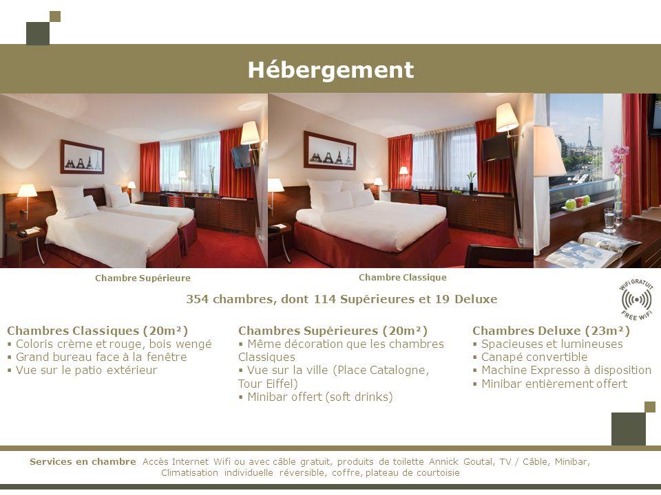 Hébergement 354 chambres, dont 114 Supérieures et 19 Deluxe