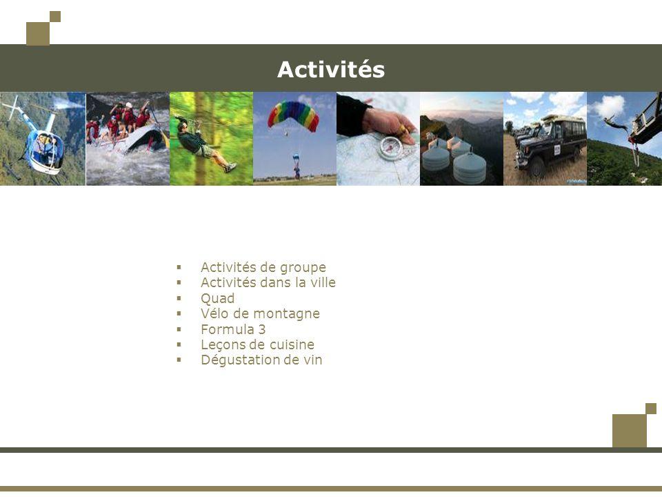 Activités Activités de groupe Activités dans la ville Quad