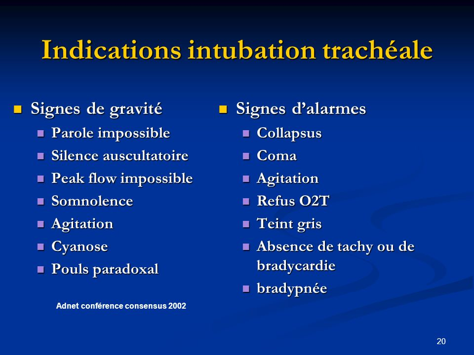Indications intubation trachéale