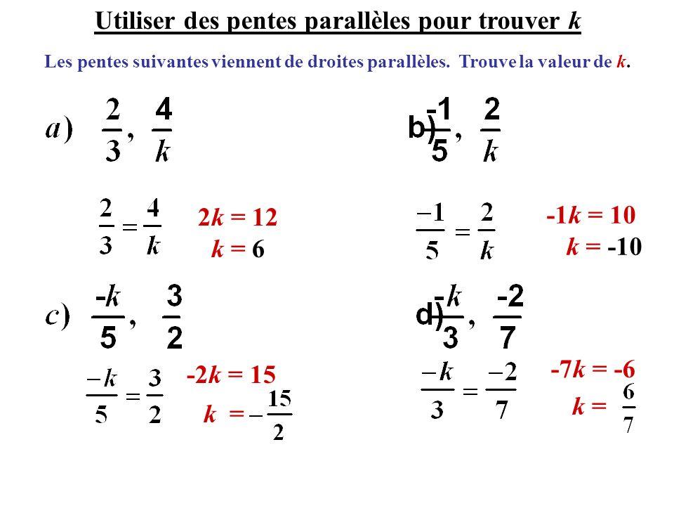 Utiliser des pentes parallèles pour trouver k