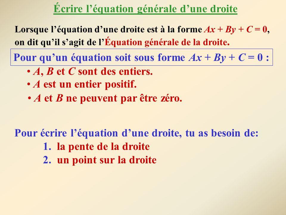 Écrire l'équation générale d'une droite