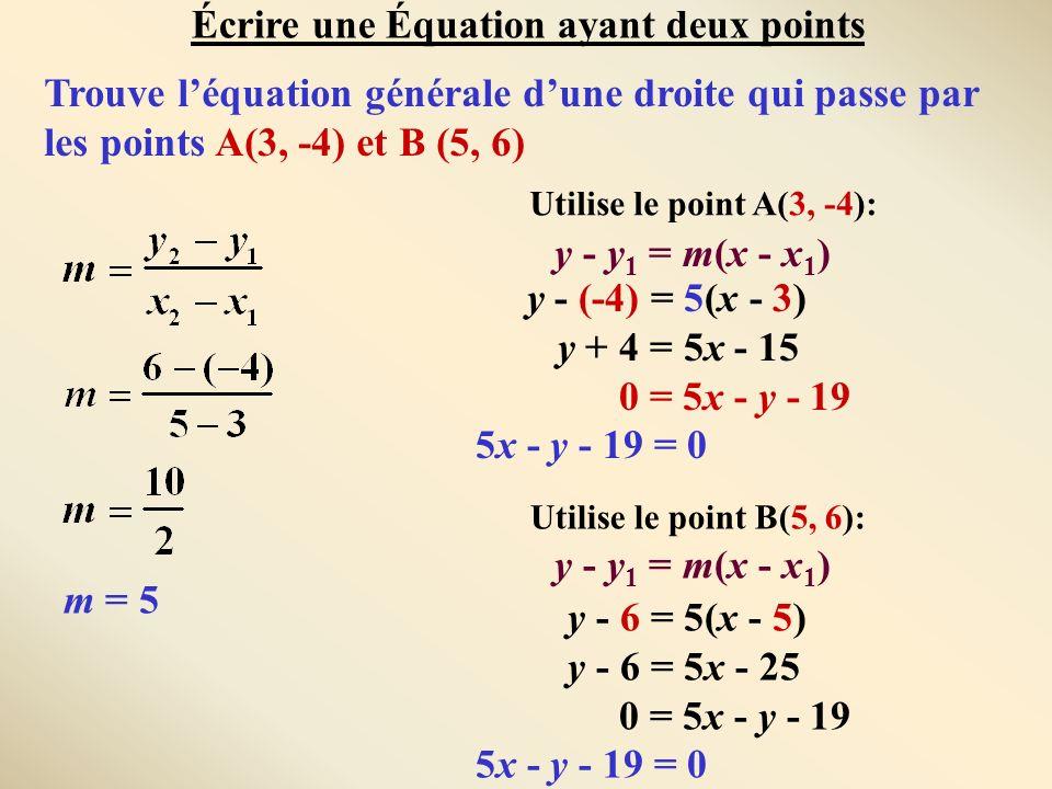 Écrire une Équation ayant deux points