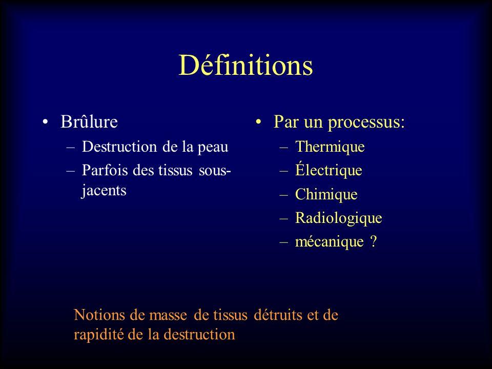 Définitions Brûlure Par un processus: Destruction de la peau