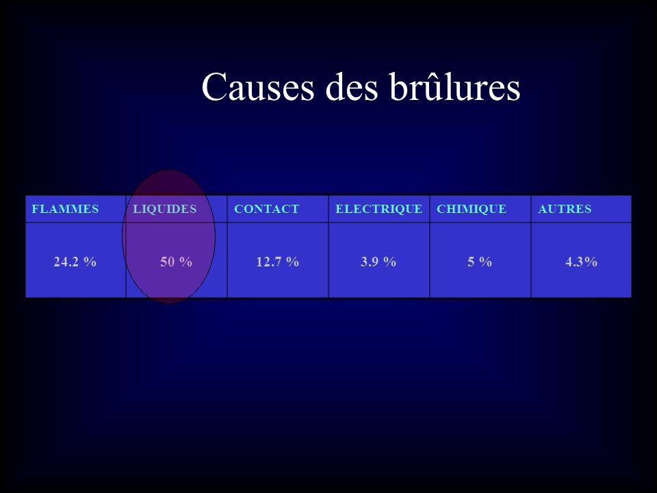 Causes des brûlures 24.2 % 50 % 12.7 % 3.9 % 5 % 4.3% FLAMMES LIQUIDES