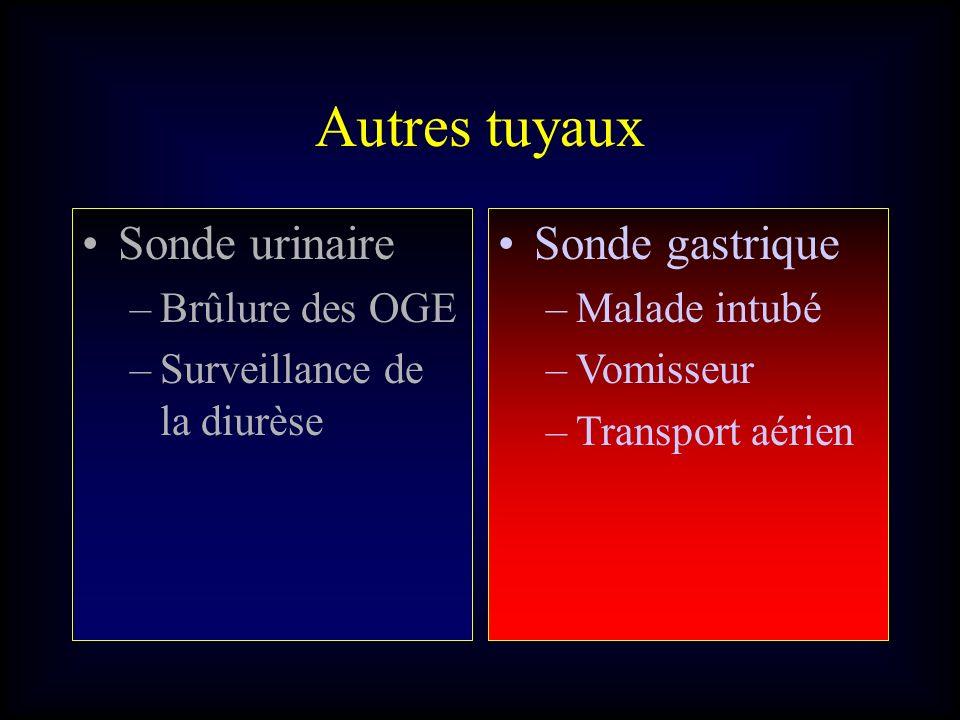 Autres tuyaux Sonde urinaire Sonde gastrique Brûlure des OGE