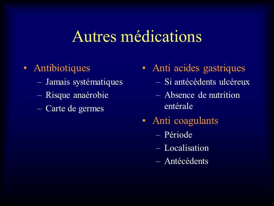Autres médications Antibiotiques Anti acides gastriques