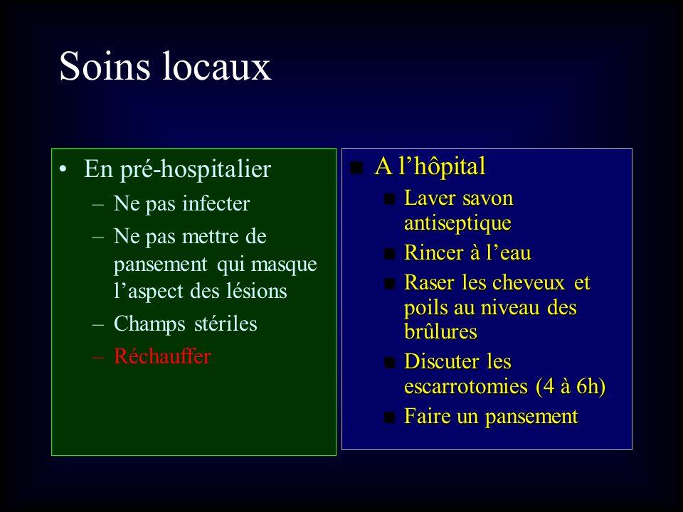 Soins locaux En pré-hospitalier A l'hôpital Ne pas infecter