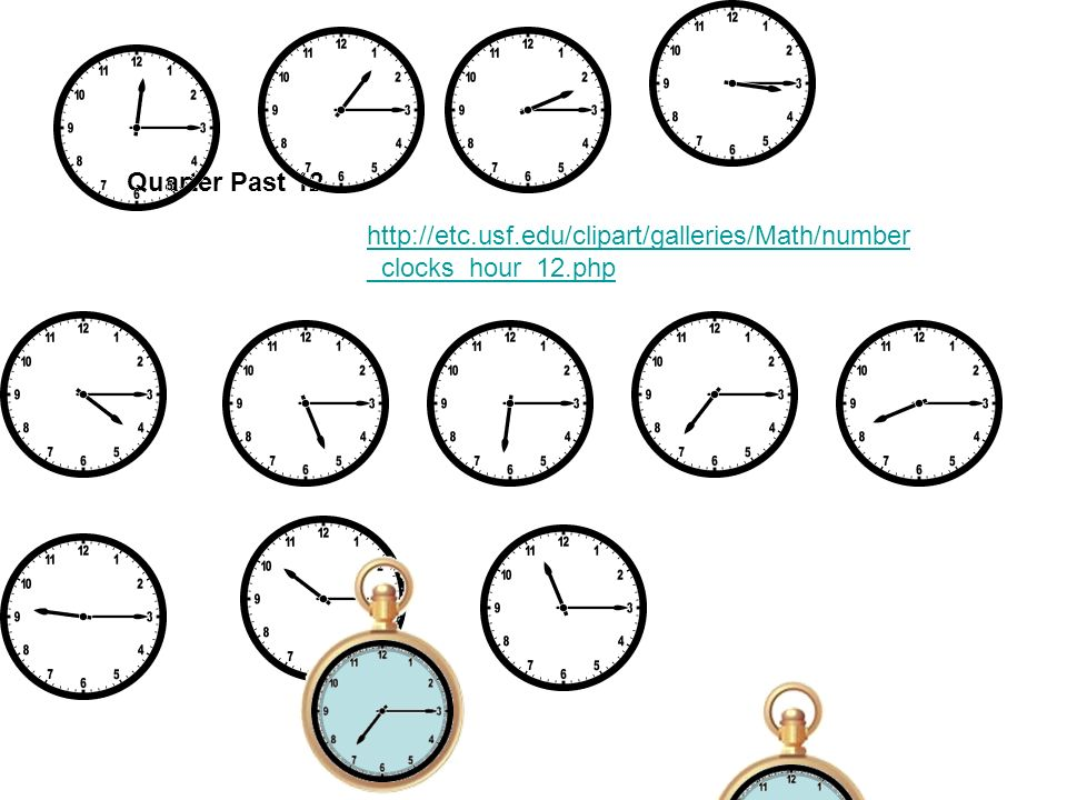Quarter Past 12 http://etc.usf.edu/clipart/galleries/Math/number_clocks_hour_12.php