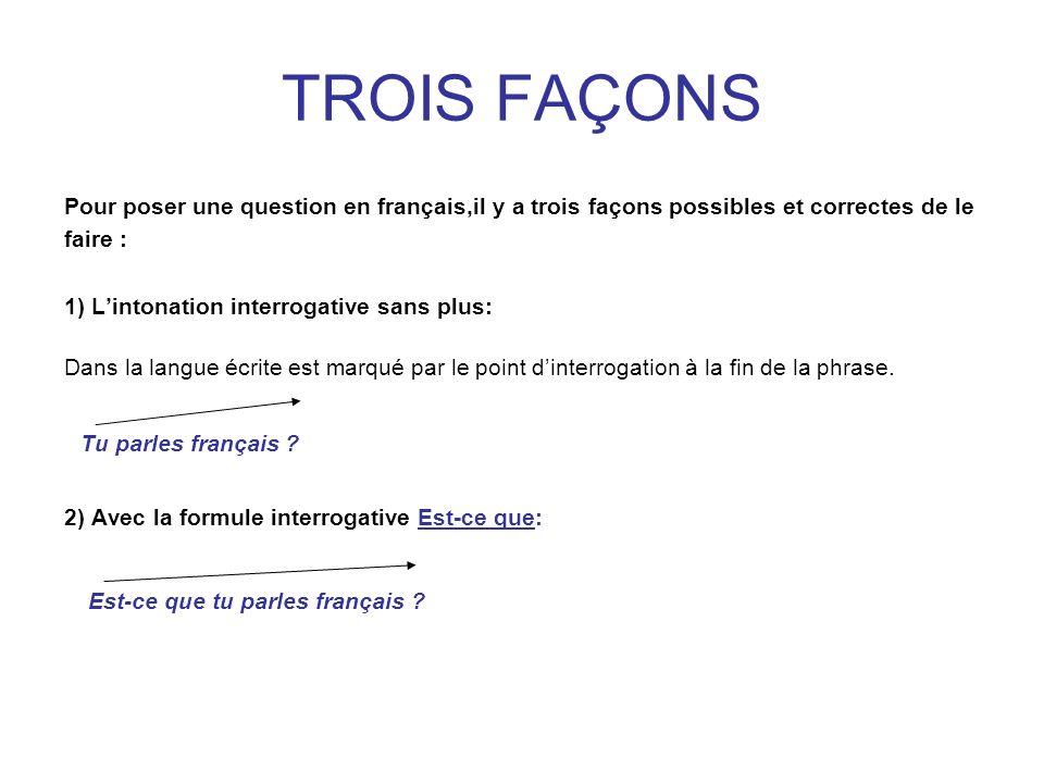 TROIS FAÇONS Tu parles français