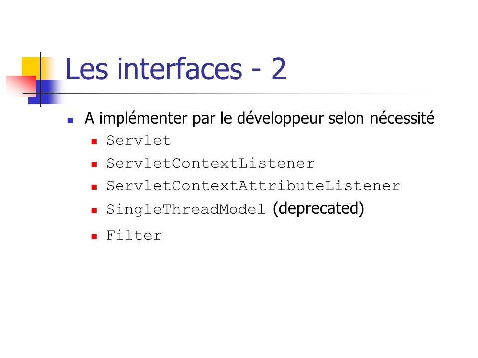 Les interfaces - 2 A implémenter par le développeur selon nécessité