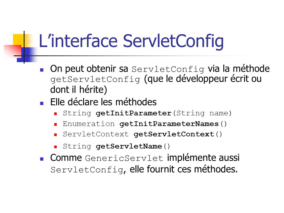 L'interface ServletConfig