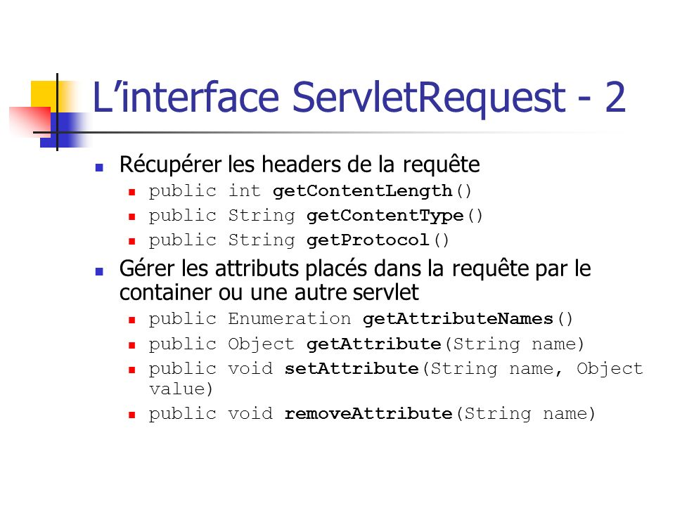 L'interface ServletRequest - 2