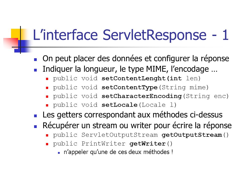 L'interface ServletResponse - 1