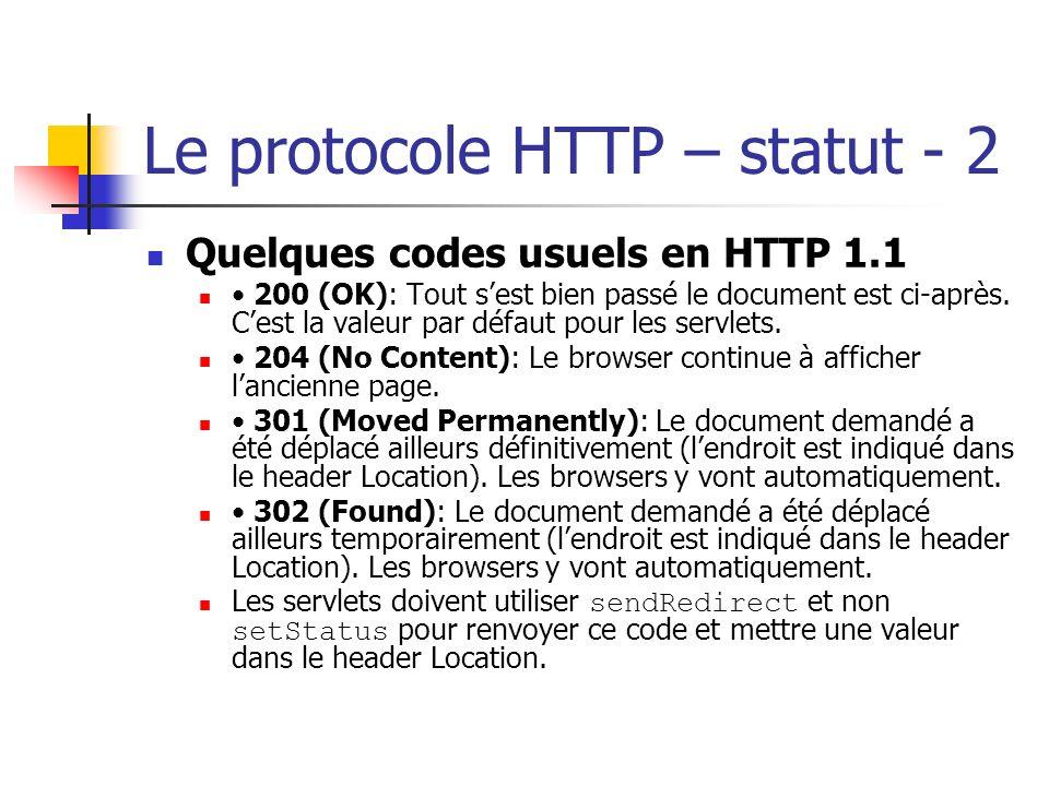 Le protocole HTTP – statut - 2