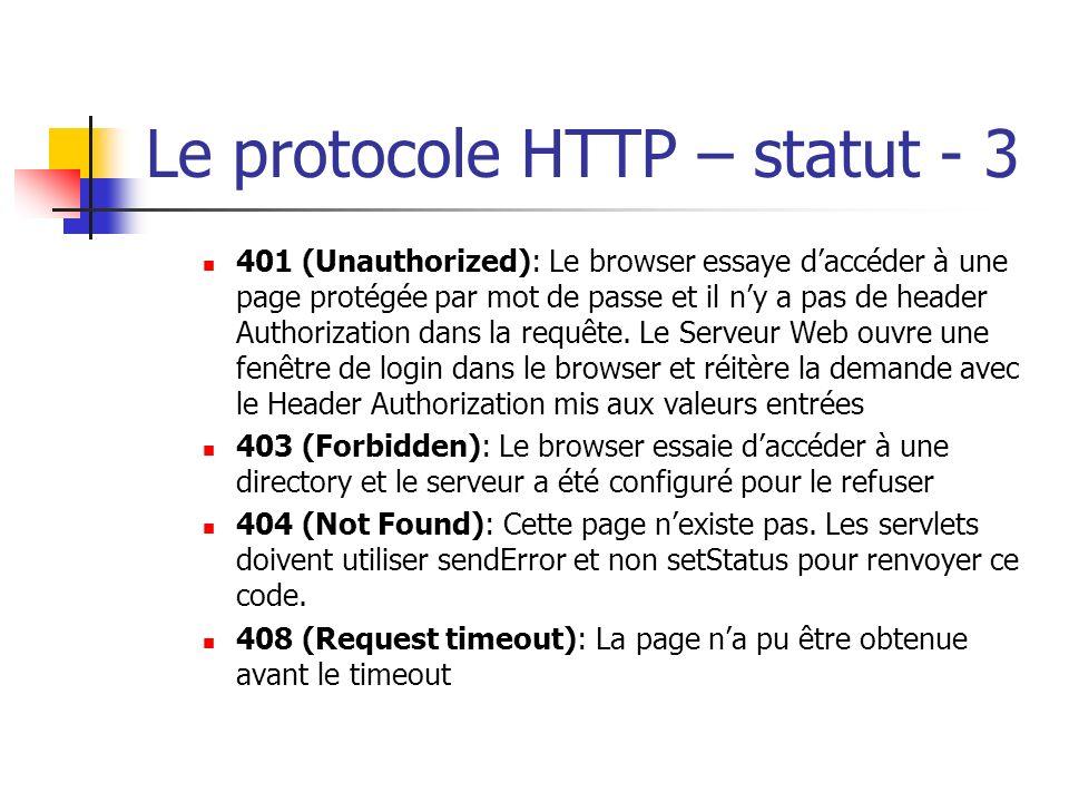 Le protocole HTTP – statut - 3