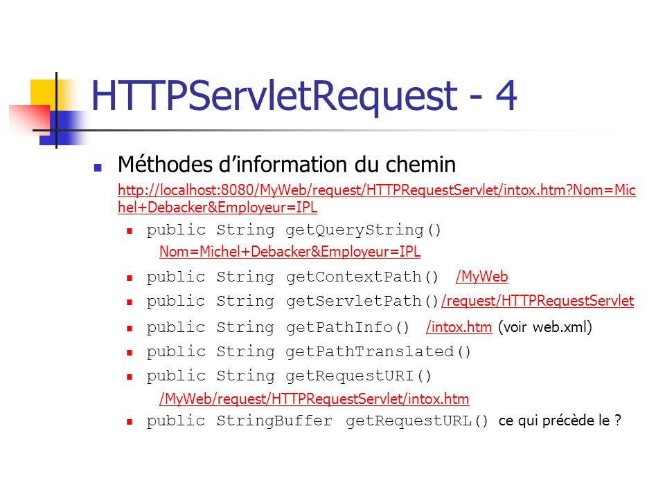 HTTPServletRequest - 4 Méthodes d'information du chemin