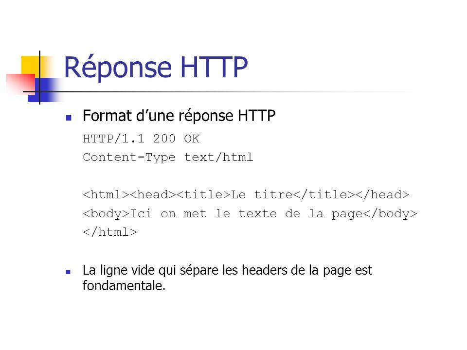 Réponse HTTP Format d'une réponse HTTP HTTP/1.1 200 OK