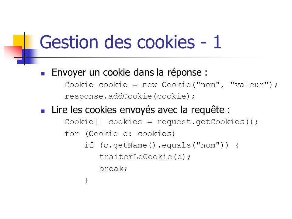 Gestion des cookies - 1 Envoyer un cookie dans la réponse :