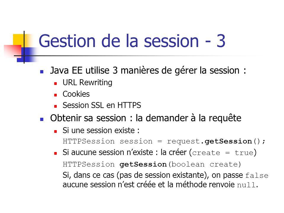 Gestion de la session - 3 Java EE utilise 3 manières de gérer la session : URL Rewriting. Cookies.