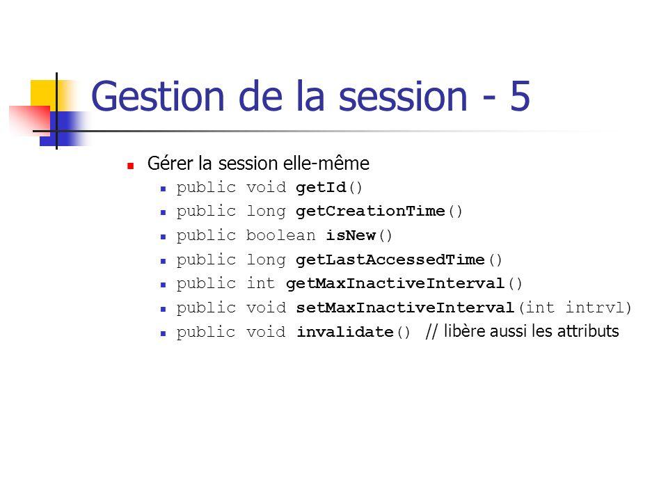 Gestion de la session - 5 Gérer la session elle-même