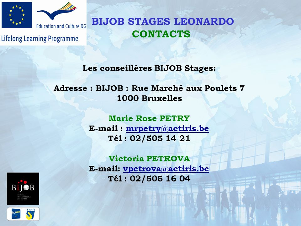 BIJOB STAGES LEONARDO CONTACTS