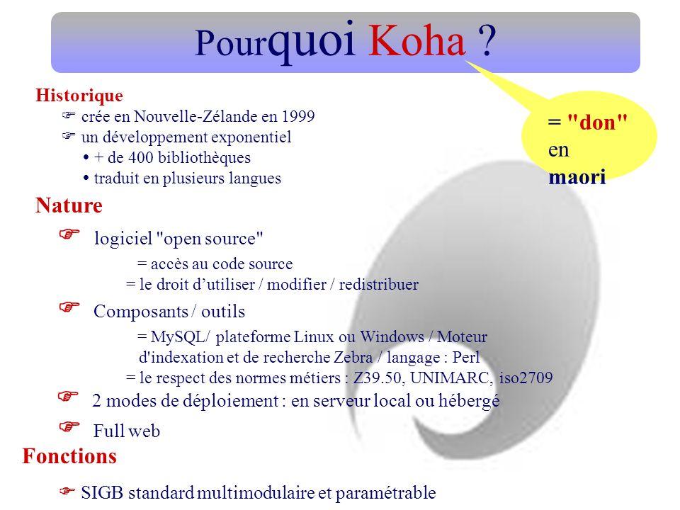 Pourquoi Koha Fonctions  logiciel open source