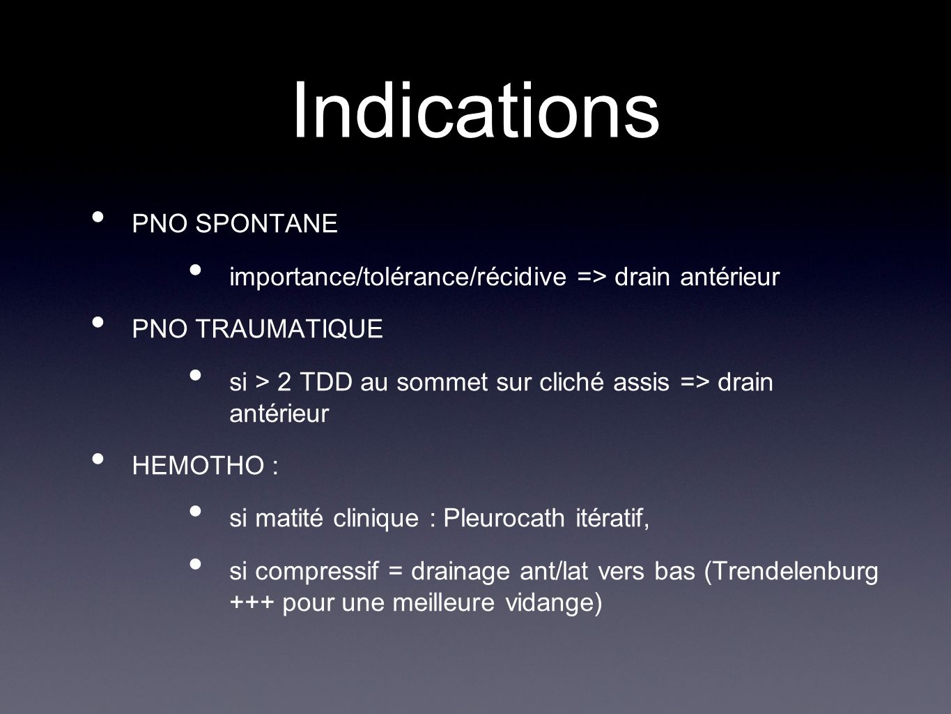 Indications PNO SPONTANE