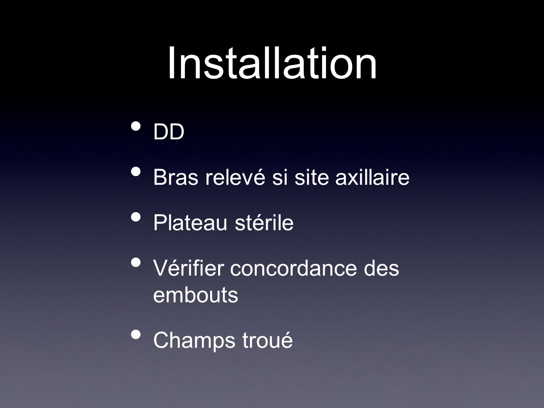 Installation DD Bras relevé si site axillaire Plateau stérile