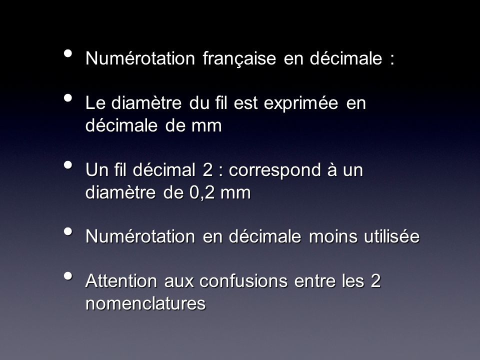 Numérotation française en décimale :