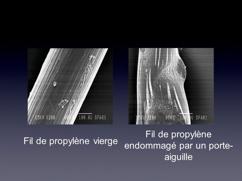 Fil de propylène endommagé par un porte- aiguille