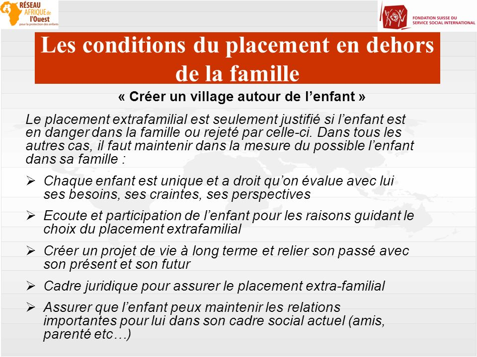 Les conditions du placement en dehors de la famille