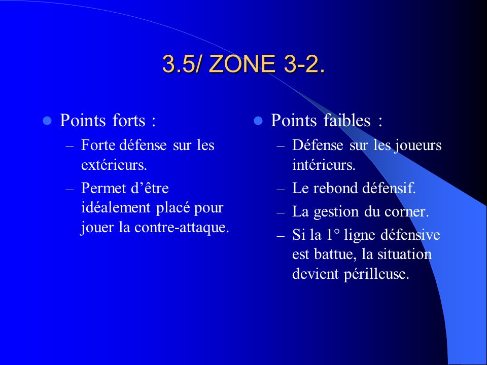 3.5/ ZONE 3-2. Points forts : Points faibles :