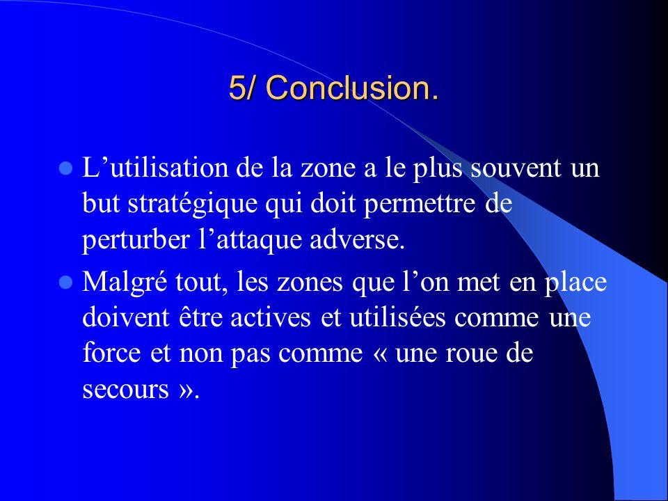 5/ Conclusion. L'utilisation de la zone a le plus souvent un but stratégique qui doit permettre de perturber l'attaque adverse.