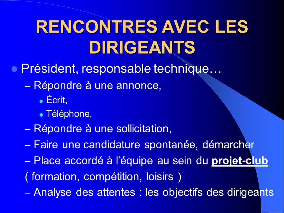 RENCONTRES AVEC LES DIRIGEANTS