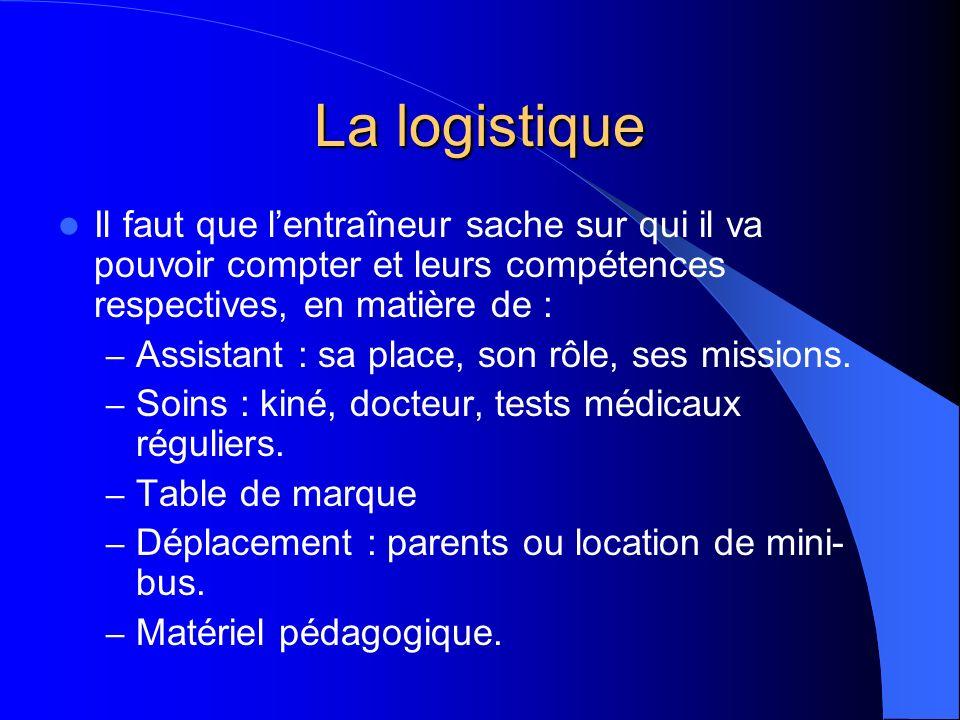 La logistique Il faut que l'entraîneur sache sur qui il va pouvoir compter et leurs compétences respectives, en matière de :