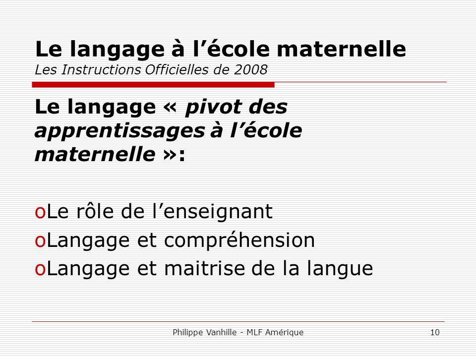 Le langage à l'école maternelle Les Instructions Officielles de 2008