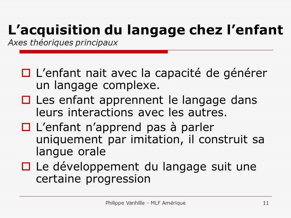 L'acquisition du langage chez l'enfant Axes théoriques principaux