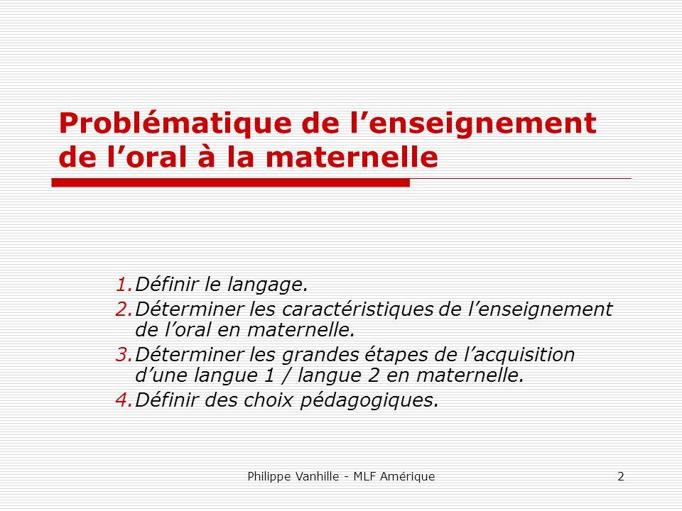 Problématique de l'enseignement de l'oral à la maternelle
