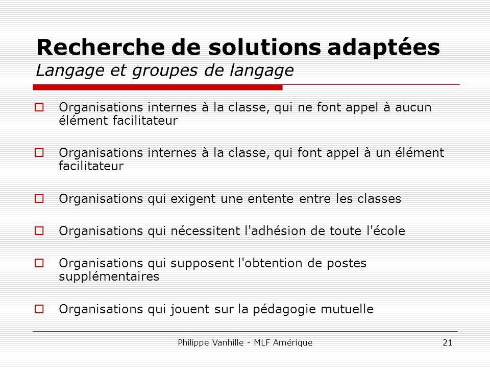 Recherche de solutions adaptées Langage et groupes de langage