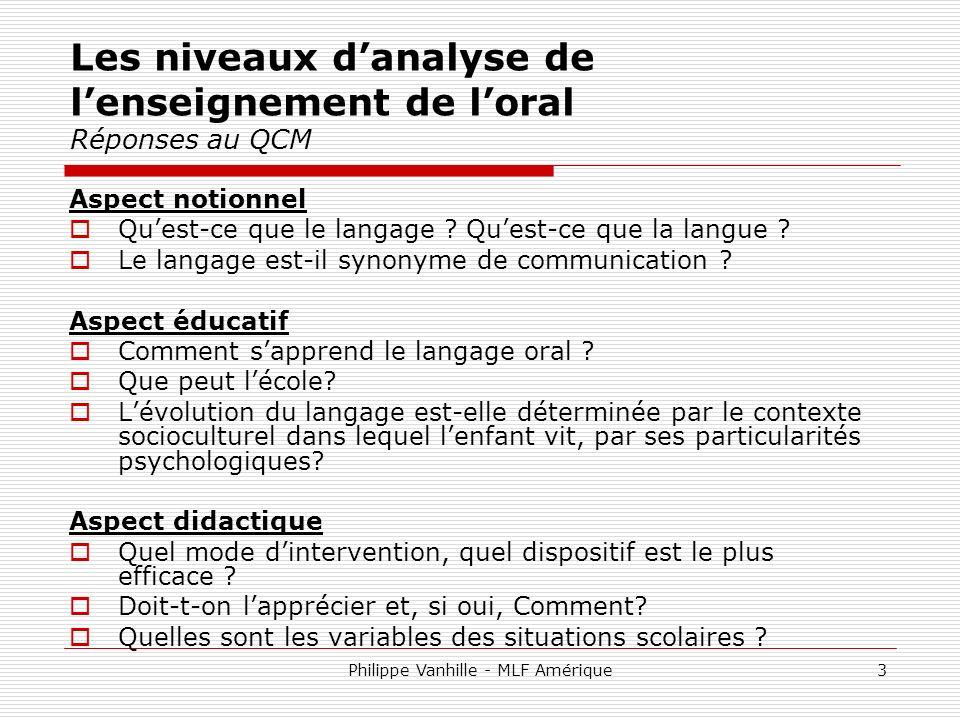 Les niveaux d'analyse de l'enseignement de l'oral Réponses au QCM