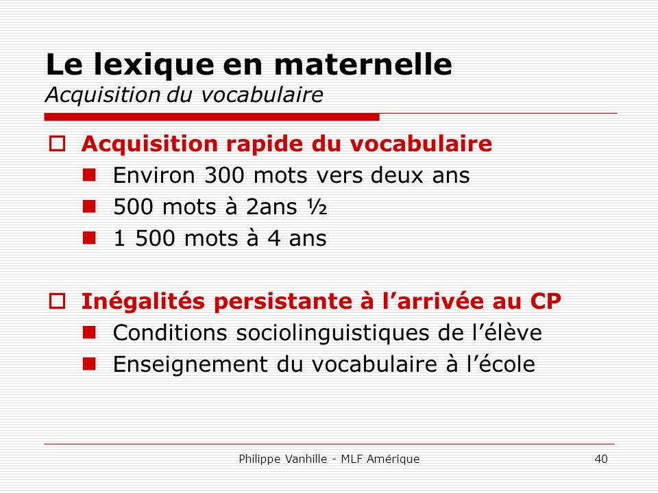 Le lexique en maternelle Acquisition du vocabulaire