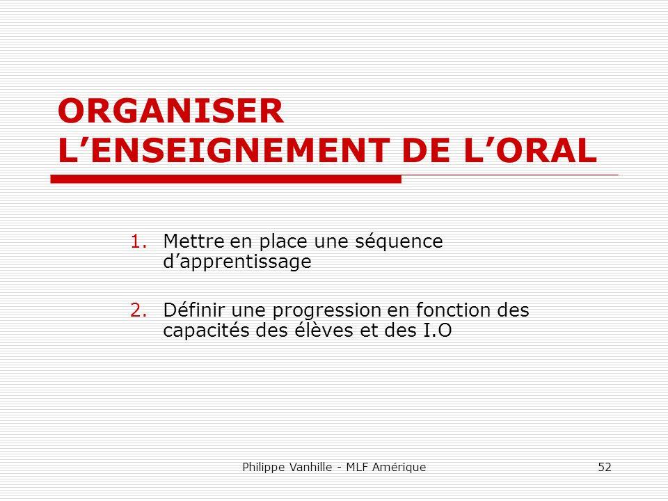 ORGANISER L'ENSEIGNEMENT DE L'ORAL