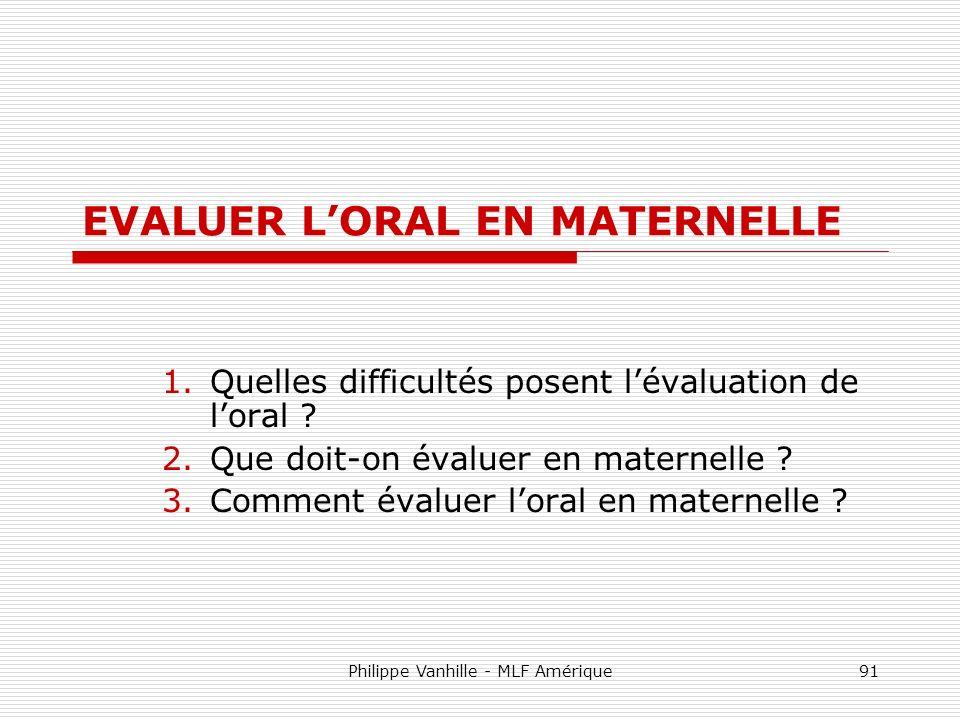 EVALUER L'ORAL EN MATERNELLE