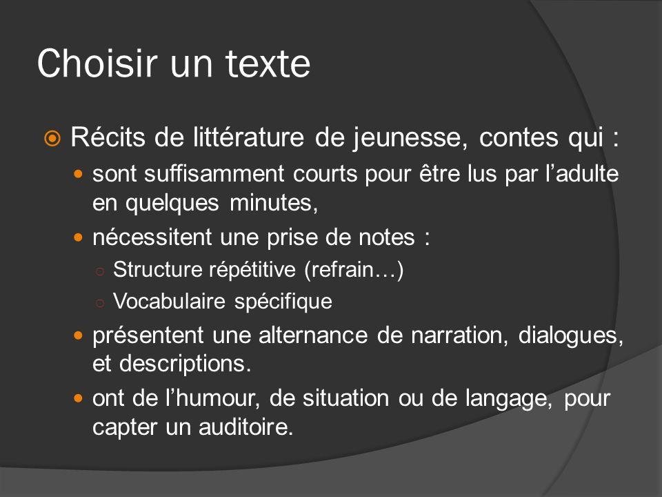 Choisir un texte Récits de littérature de jeunesse, contes qui :