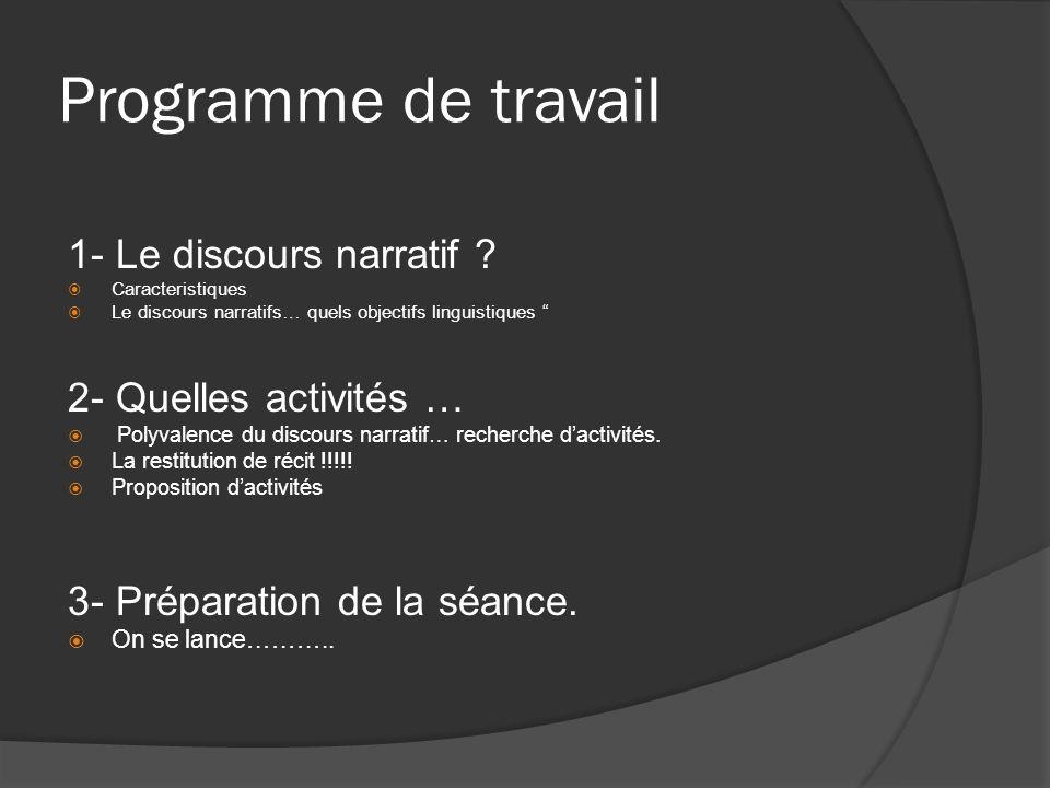Programme de travail 1- Le discours narratif 2- Quelles activités …