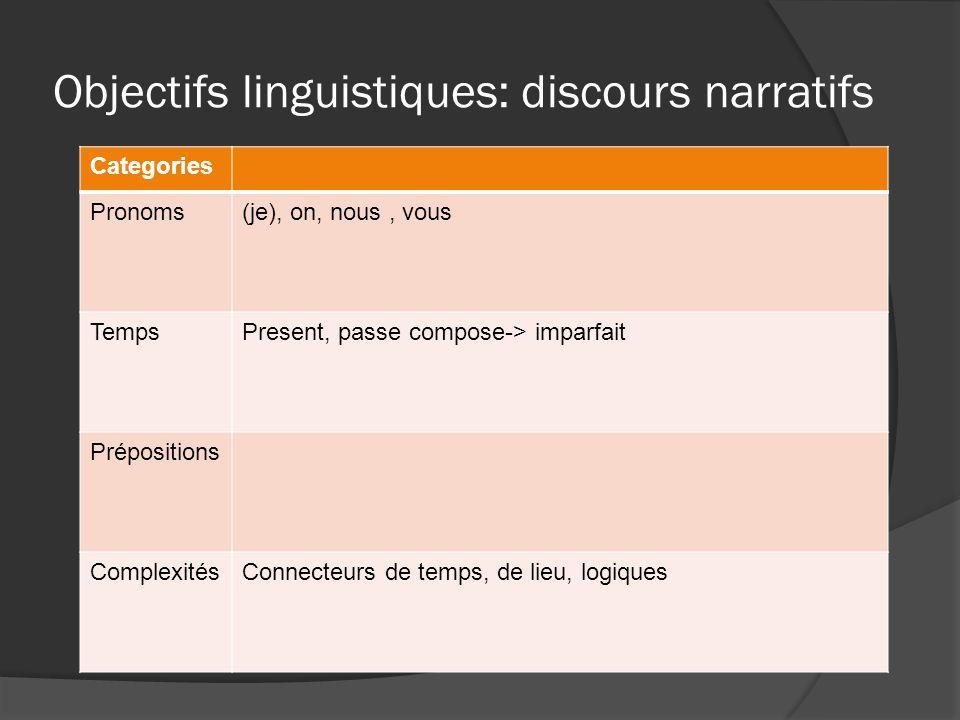 Objectifs linguistiques: discours narratifs